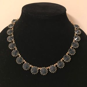 JCREW Black and Gold Tone Faux Crystal Necklace
